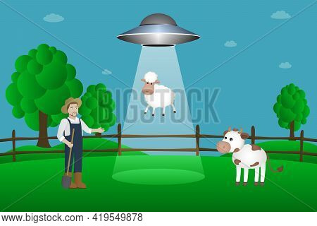 Flying Saucer Abducts Sheep. Cartoon Style. Vector Illustration.