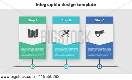 Set Pirate Treasure Map, Crossed Pirate Swords And Cannon. Business Infographic Template. Vector