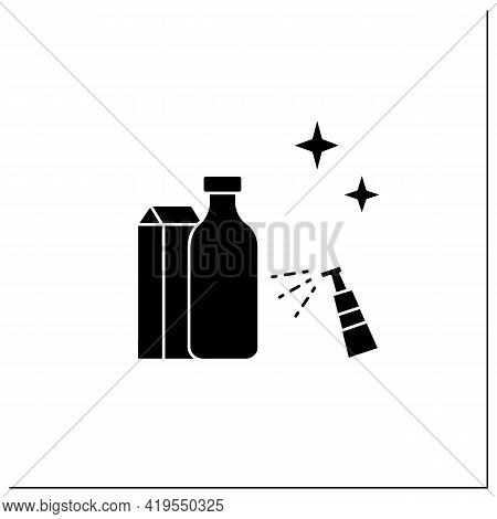 Wiping Down Grocery Packages Glyph Icon. Purchases Disinfecting. Safety Shopping. Safety Space And P