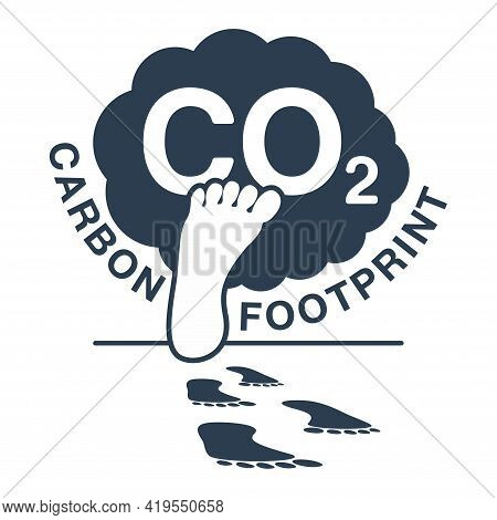 Co2 Emissions Illustration - Harmful Air Carbon Footprint Flat Emblem With Industrial Smoke And Huma