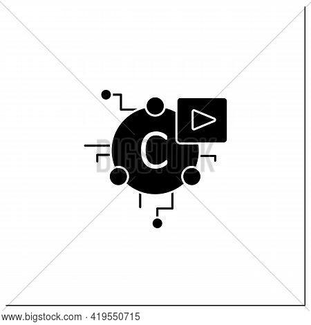 Cryptomedia Glyph Icon. Digital Medium Includes Graphics, Audio.video, Plain Text, Hyperlinks.univer