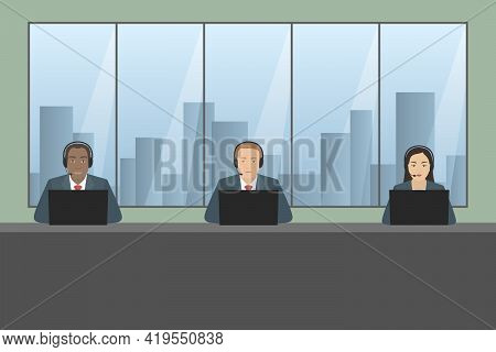 Multiethnic Group Of Call Center Officers. Vector Illustration.
