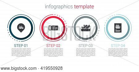 Set Location With Cruise Ship, Cruise Ticket, Sinking And . Business Infographic Template. Vector