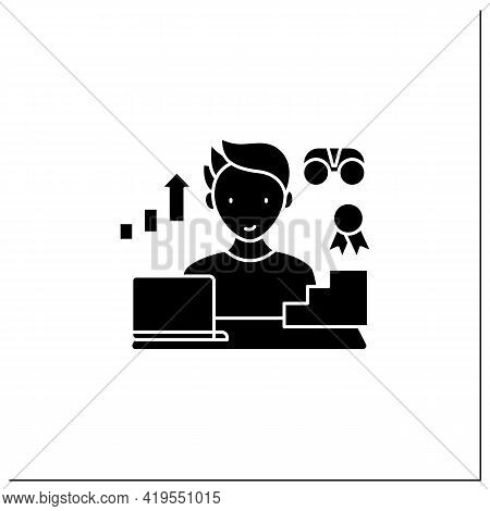 Workaholic Glyph Icon.improving Career Prospects. Increase Productivity. Work Done Reward. Man At La