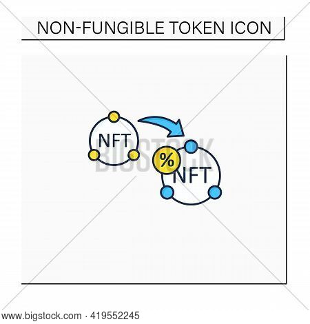 Ntf Resale Color Icon. Subsequent Percentage. Secondary Sale.agreement. Digitalization Concept. Isol