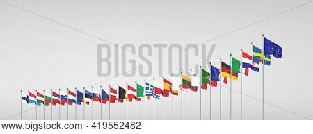 27 Waving Flags Of Countries Of European Union (eu). Grey Background. 3d Illustration.