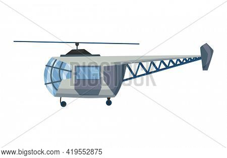 Helicopter cartoon aviation. Avia transportation with propeller isolated on white.  copter aircraft rotor plane cargo. Civil or army military transport helicopter