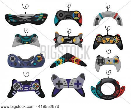 Joystick. Cartoon video game console. Gamepad  icon set. Game-play console isolated on white background