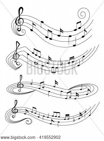 Set of music notes on staves. Music staff black notes symbols in rounded corners style. Abstract row of musical notes and chords collection.  musical notations