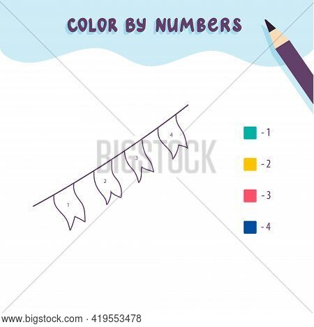 Color Cute Flags By Number. Educational Math Game For Children. Coloring Page.