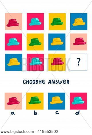 Logic game for kids, activity to children, task for the development of logical thinking and mind, cute cartoon hats