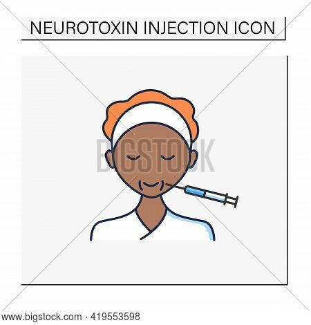 Cosmetic Injection Color Icon.face Lifting.smile.form Correction. Rejuvenation. Full Syringe. Beauty