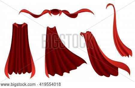 Superhero red cape. Scarlet fabric silk cloak in different position, front and side view. Carnival masquerade dress, 3d realistic costume design. Silk flying capes