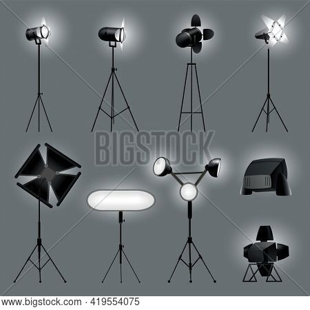 Collection of realistic spotlights with gray background for show contest or interview  illustration. Photography studio equipment. Illuminated effect form projectors for studio illumination