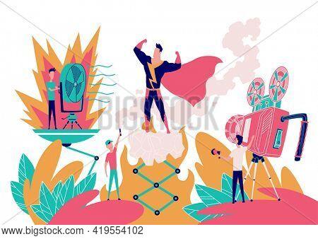 Superhero films. Movie shooting and production process. Superhero movie making, cartoon characters in stages of film production shooting in studio