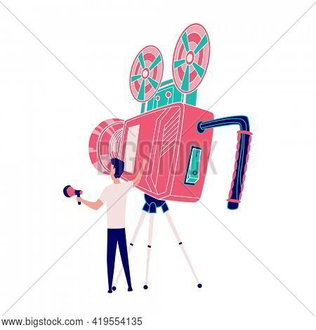 Operator with camera and horn. Superhero films. Movie shooting and production process. Superhero movie making, cartoon characters in stages of film production shooting in studio