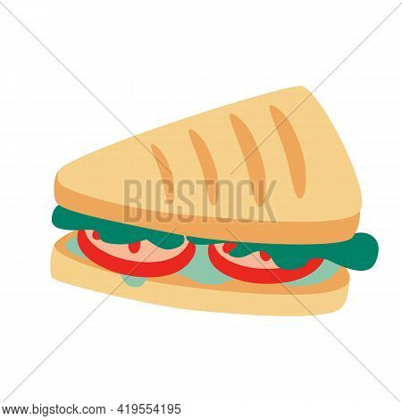 Triangular Sandwich With Lettuce, Tomatoes And Cheese. Sandwich, School Snack Icon. Graphic Design E