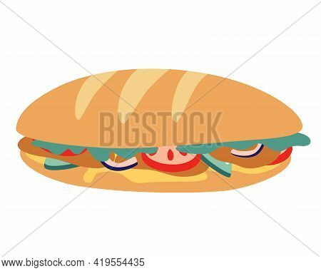 Tasty Long Baguette Sandwich. Fast Food Baguette Sandwich Ham Bacon Lettuce Tomato Cheese. Fast Food