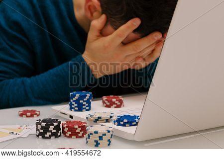 Devastated Gambler Man Losing A Lot Of Money Playing Poker In Casino, Gambling Addiction. Divorce, L