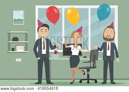 White Collars Hold Helium Balloons. Office Party. Vector Illustration.