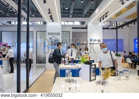China, Guangzhou - March, 29, 2021: People To Visit China International Furniture Business Fair Duri