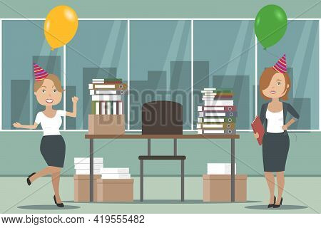 Two Joyful Female Accountants On Office Party. Vector Illustration.