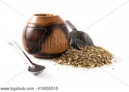 Yerba Mate Tea Isolated On White Background. Traditional Argentinian Beverage