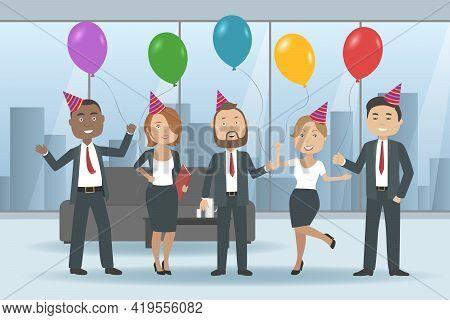 Multiethnic Team On Corporate Party. Vector Illustration.