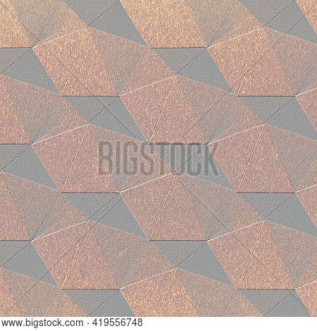 3D copper paper craft heptagonal patterned background