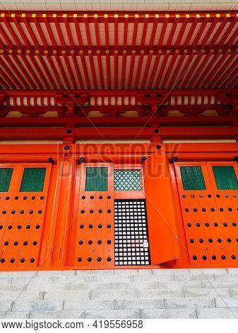 The Vibrant Red Konpon Daito Pagoda In The Unesco Listed Danjo Garan Shingon Buddhism Temple Complex
