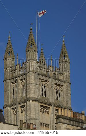Main Of Tower Of Bath Abbey. 16th Century Church In The Historic City Of Bath In England, United Kin