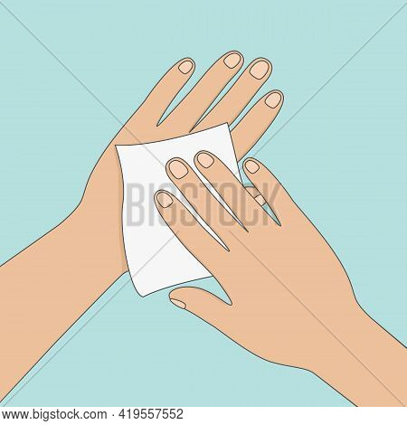 Wiping Hands With Antiseptic Wipe. Vector Illustration.
