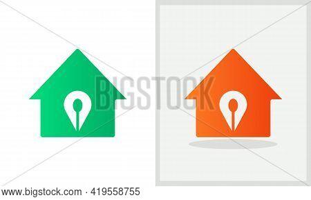 Location House Logo Design. Home Logo With Location Spon Concept Vector. Spon And Home Logo Design