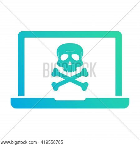 Virus Alert Icon. Laptop With Virus. Cyber Attack Alert Icon With Skull. Phishing Scam Concept. Hack