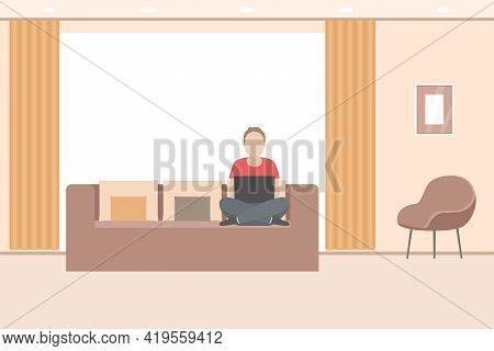 Telework. Man Working On Laptop At Home. Vector Illustration.