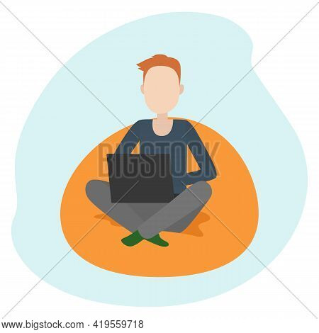 Man Sitting On Floor Pillow And Working On Laptop. Teleworking. Vector Illustration.