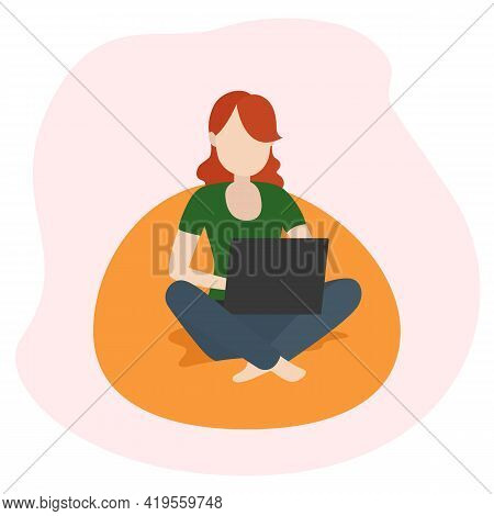 Woman Sitting On Lounge Chair And Working On Laptop. Remote Work. Vector Illustration.