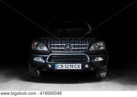 Chernigov, Ukraine - May 1, 2021: Mercedes-benz Ml W163 Brabus In The Shade. Mercedes Suv In The Gar