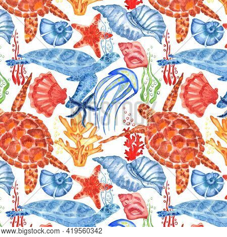 Marine Background With Sea Turtle, Shells, Jellyfish And Corals. Watercolor Seamless Pattern. Isolat