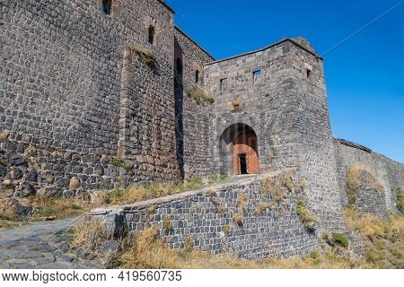 Main Entrance To Kars Castle, Kars,turkey. Fortress Built In 1153 On Top Of Almost Impregnable Rock.