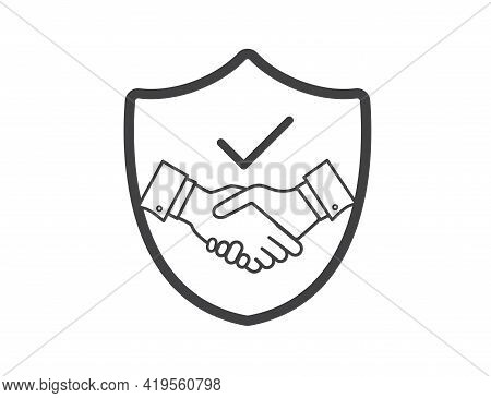Trust Icon, Handshake. Business Partnership And Agreement. Successful Achievement And Meeting Concep
