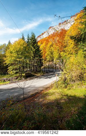 Road Winding Through Mountainous Landscape. Sunny Nature Scenery In Autumn. Pietrele Negre, Apuseni