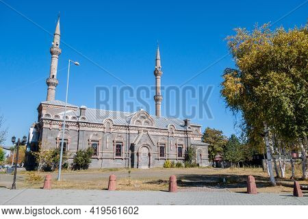 Park Near Fethiye Cami Mosque, Kars, Turkey. Mosque Is Former Christian Orthodox Church Of Alexander