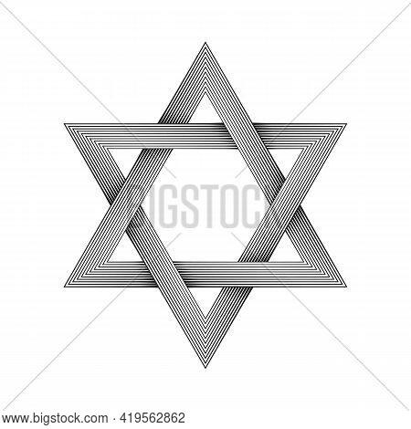 Halftone Six Pointed Star Figure. Star Of David. Hexagram. Geometric Shape With Interlocking Style.