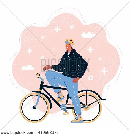 Vector Illustration Of Male Cyclist Riding A Bike