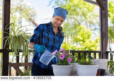 Woman At Home In The Attic Plants Beautiful Flowers In Pots. Takes care of plants. Changes the Earth. Watering flowers.