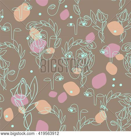 Seamless Pattern With Abstract Outline Of Surreal Women Faces On Cardboard Background. Symbol Spring