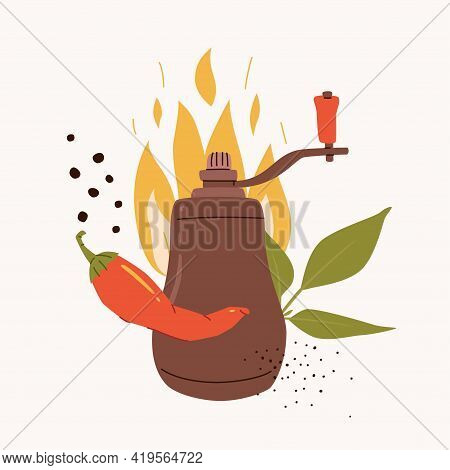 Pepper Grinder Mill With Chili Pepper, Pepper Leaf, And Flame. Vector Spicy Food Illustration Isolat