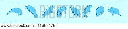 Set Of Manatee Cartoon Icon Design Template With Various Models. Modern Vector Illustration Isolated