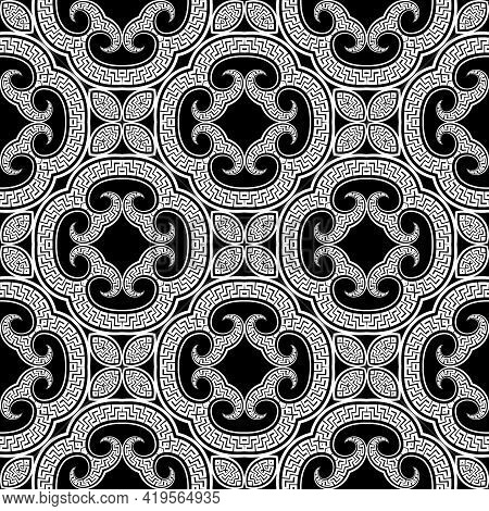Floral Black And White Greek Seamless Pattern. Vector Arabesque Background. Tribal Ethnic Backdrop.